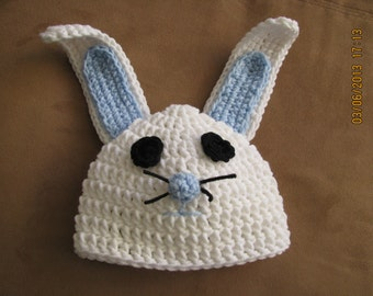 Rabbit Hat crochet newborn size photo prop / costume