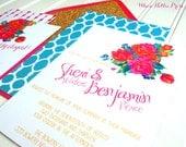 Retro Bohemian Floral Wedding Invitations