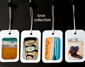 Photo Gift TAGS  Set of 4 photography gift tags, Love, Hearts, Ocean, Stones, Swing Tags, Wedding Favours, Cute Tags, Blue, Brown