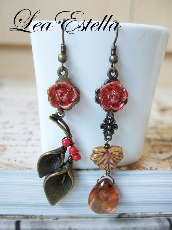 Swarovski pearls Gold Brown and Red Mismatch Asymmetric Rustic Floral Earrings - Autumn Colours