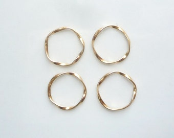 4 pcs  Gold Vermeil, twisted  round link, spacer, connector, 15mm, Gold plated sterling silver
