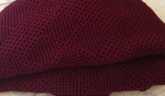 Knitted Afghan Throw Blanket Burgundy By Tgknits On Etsy