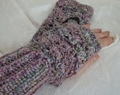 Crocheted fingerless texting gloves in lavender, gray and green heather