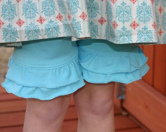 turquoise blue knit double ruffle shorts shorties sizes 12m - 14 girls