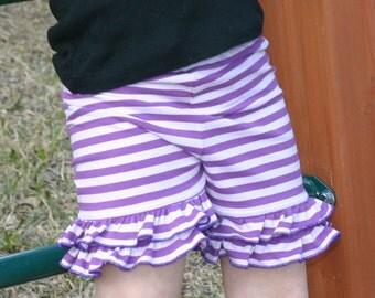 purple and lavendar stripe double ruffle shorties sizes 12m - 14 girls