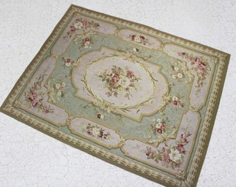 Miniature Carpet  Romantic Aubusson Green With Roses in Largest 1:12 or Playscale