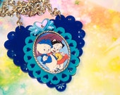 Porky Pig Necklace Petunia Pig Love in Blue Looney tunes Favorite cartoon couple