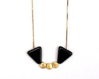 SALE Three Gold Dot & Black Triangle Necklace