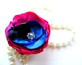 SALE Something Blue with a KISS of PINK Flower Hair Clip