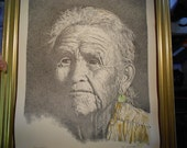 """An America Indian Portrait  """"Wisdom"""" Pen Ink and Water colors"""