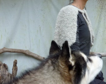 Wolfkin Capelet, hand knitted in gray Nomad wool and alpaca mix yarn with howlite gemstones, READY TO SHIP
