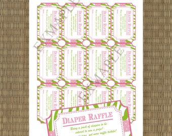 Printable Diaper Raffle Tickets - DIY Printable Shower Raffle Tickets - To match any of my designs