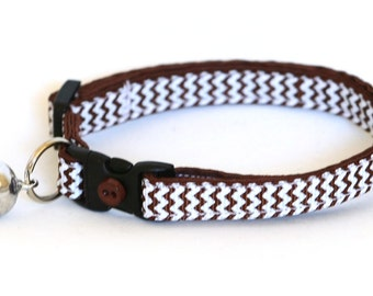 Chevron Cat Collar - Brown - Small Cat / Kitten size or Large Size Collar
