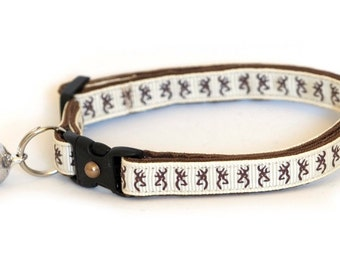 Cat Collar - Deer Head on Cream -Small Cat / Kitten Size or Standard/Large Cat Collar