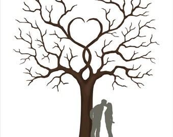 Wedding Guest Book, Wedding Guestbook Alternative with Bride & Groom Silhouette, Couple Silhouette Fingerprint Tree - DIGITAL PRINTABLE JPEG
