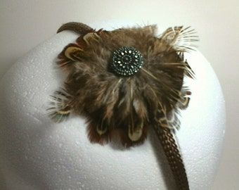 Clearance Guinea Feather Brown Headband