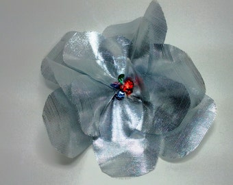 Clearance Sequined Silver Organza Flower Pin
