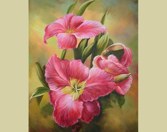 ORIGINAL Oil Painting Let me Dance With You 40 x 30 Lilies Floral Brush Colorful Pink Fuscia White Green Still life Huge ART by Marchella