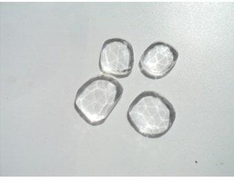 Quartz Crystal Rose Cut - Flat Cabochons - Plain Rose Cut Cabs - Flat Back - Polki - 5 Pieces -13mm To 18mm Each