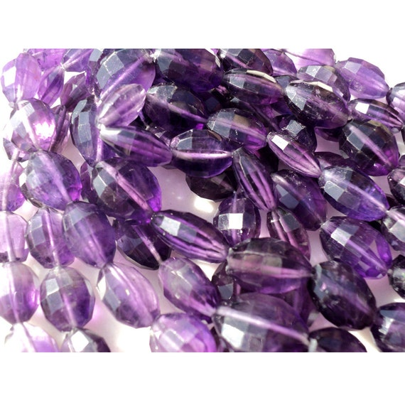 5 Inches - Amethyst Super Finest Large 8x13mm AAA Natural  Amethyst Checker Cut Oval Beads (Genuine Earth Mined)