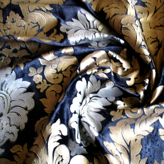 Royal Crown Black Velvet Fabric With Silver Print And