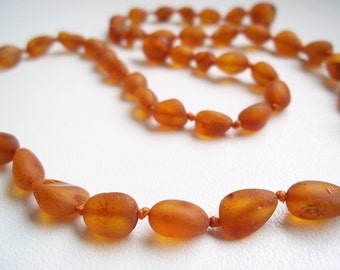 Raw Unpolished Multicolor Genuine  Baltic  Amber  Necklace  18.1 inches.
