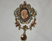Victorian cameo brooch steampunk goth elegant  Free shipping