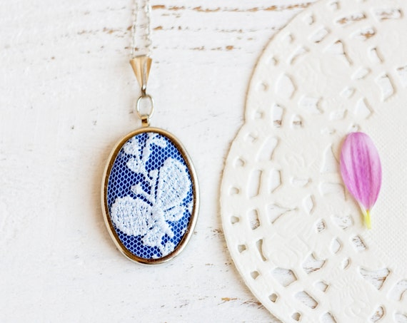 Textile necklace with blue floral / butterfly lace and blue fabric - bridesmaid jewelry, Mother's day gift - l001