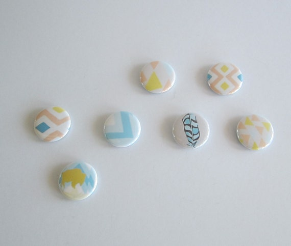magnets- southwest design- pastel magnets- feather- chevron- buffalo magnets- redtilestudio