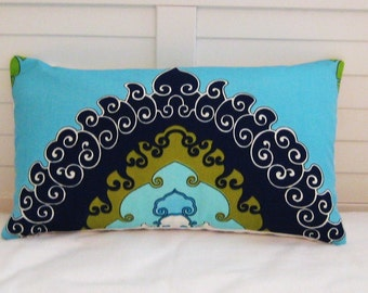Trina Turk for Schumacher Super Paradise in Pool Indoor Outdoor Lumbar Pillow Cover - One Sided or Both Sides