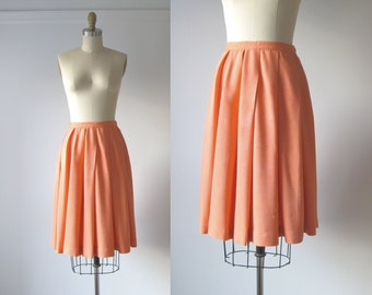 vintage 1960s peach skirt / 1960s pleated skirt