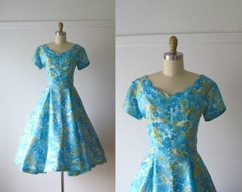vintage 1950s dress / 50s dress / Jardin Bleu