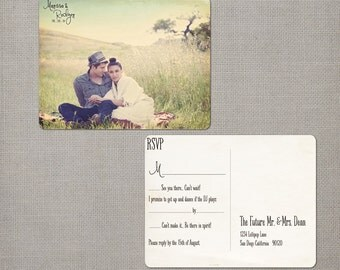 "Rustic wedding rsvp post card, 4.25x5.5, Response card - the ""Marissa"""
