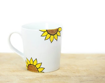 Hand Painted Ceramic Mug Tea Cup With Sunflower Summer  botanical design Minimal modern white yellow brown  kitchen decor  Decorative  Art