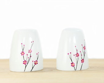 Hand Painted Ceramic Salt and Pepper Shakers Blooming Cherry Tree  design modern minimalist white Kitchen Decor Decorative Ceramic Art