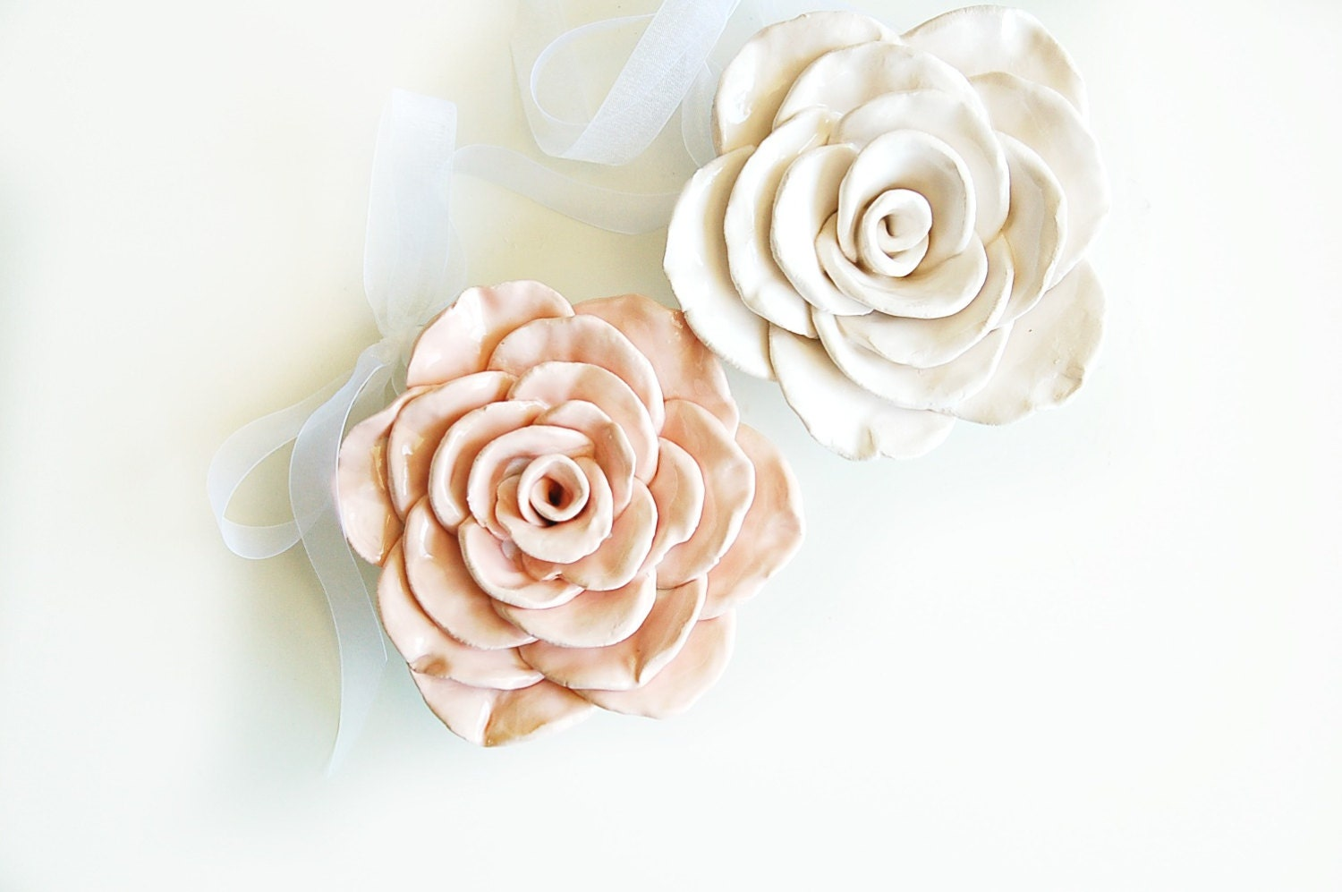 Home Decor Wall Flower / Pink Ceramic Shabby Chic Rose
