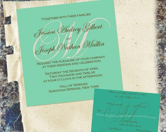 Square Monogram Printable Wedding Invitation in Your Wedding Colors, DIY, Custom with RSVP