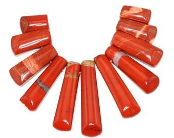 Stunning 11 pieces Red River Jasper Graduation Fan Shaped Pendant Bead Set J45B5506