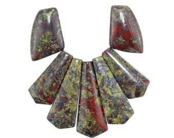 Pretty 7 pieces Brecciated Jasper Pendant Bead Set J46B5425