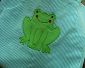 CLEARANCE Baby Boys size 6 Month Froggy Appliquéd Seersucker Longall Outfit