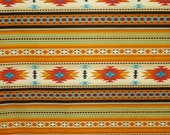 Gold Tucson Southwest Stripe Print Pure Cotton Fabric--OneYard