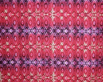 Red and Purple Ikat Style Print Pure Cotton Fabric from Michael Miller--One Yard