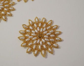 Starburst Pearl and Gold Beaded Applique--One Piece