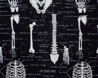 Glow in the Dark on Black Skeleton Print Pure Cotton Fabric from Timeless Treasures--One Yard