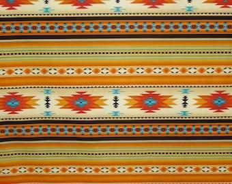REMNANT--Gold Tucson Southwest Stripe Print Pure Cotton Fabric--1&3/8 YARDS