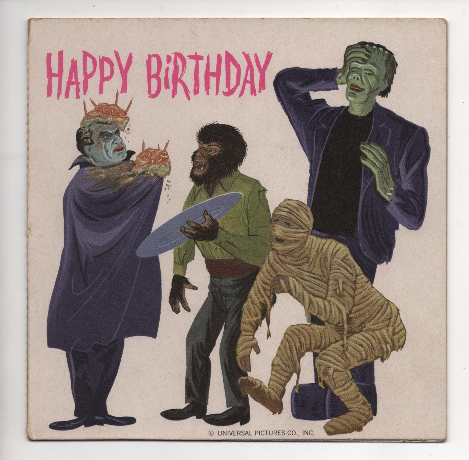 Vintage Universal Monsters Birthday Record Card Dracula