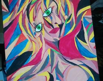 """Cubism Portrait - """"Crescendo Woman"""", 30"""" x 24"""" Acrylic on Canvas 2012"""