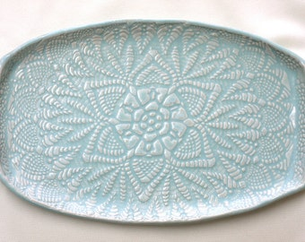 Handmade Pottery Tray - Seafoam Green Lace - Ceramic Appetizer Plate - Serving Tray