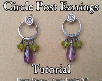 TUTORIAL  Circle Post/Stud Earrings, Wire Wrap Wrapping