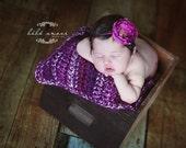 Baby Flower Headband - Newborn Headband - Photo Prop - Purple Flower Headband